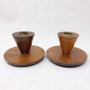 Vintage Short Myrtle Wood Candlestick Holder Pair